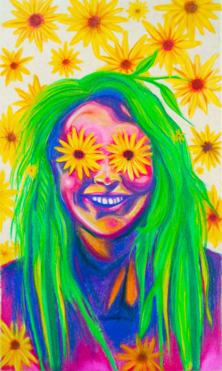 viderine:  Flower power Dry pastel crayons on paper