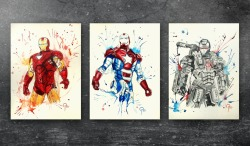 Marvel time Ironman 3 May 2013.:))Ironman, Iron Patriot and War MachineInk + Watercolor on Paper