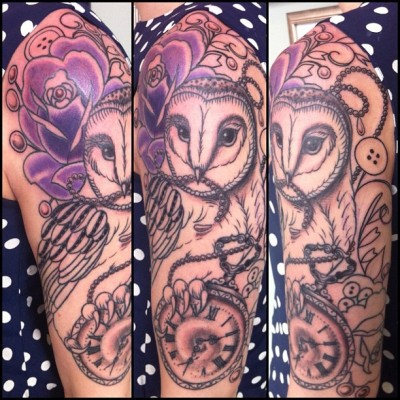 Some more progress on Carla's sleeve! #owlsleeve  #weddingtattoo #purplerose #pearls #barnowl #owltattoo #owl #tattoos #pocketwatch #antique #pocketwatchtattoo