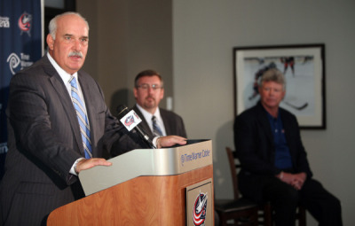 """We will do our best to make Columbus a better hockey club,"" said John Davidson, who was introduced yesterday as the Blue Jackets' new president of hockey operations. ""We'll make it a better city because we'll do our part as part of the hockey family, knowing what the team can mean to the city. It's important to grow on the ice; and we've got to be really good at growing off the ice, too. ""We make a promise that we'll make it a better place. Our family will do what we can to make the team better on the ice and off the ice.""  Photo by Dispatch photographer Chris Russell"