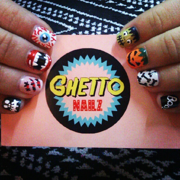 Halloween Nailz 4 @sil_lohdz from @opi_spain <3 #ghettonailz #nailart #halloween #frankenstein #pumpkin #bones #fangs #eyeball #scars #skull #boo #cute #nails