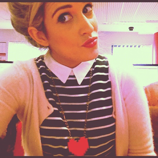 #geek #fashion #heart #necklace #strippy #dress #cardigan #pink #black and #white #nerd #charliefi