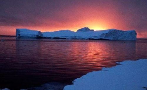 sunset at adelaide island, antarctica.