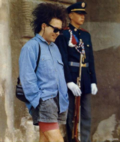 Robert Smith in shorts