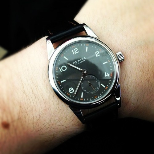 wornandwound:  Nomos Club Dunkel 36mm #womw Review of this stellar watch coming next week on w&w