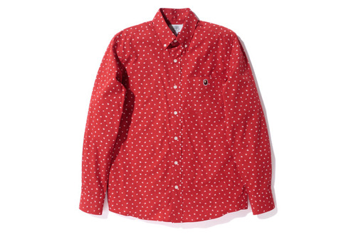 A Bathing Ape - bapesta broad bd shirt red