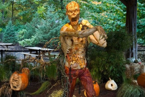 Terrifying Zombie Pumpkin!   Scary, Detailed Zombie Carved Out Of One Giant Pumpkin At The NYBG From Gothamist:  The New York Botanical Garden's is open through October 31st, and the centerpiece is definitely master pumpkin carver Ray Villafane's insanely detailed carving. Click through for a look at the zombie he carved out of one massive pumpkin.