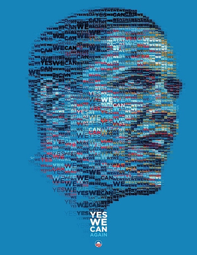 Yes we can Again Typographic Obama Portrait by tsevis