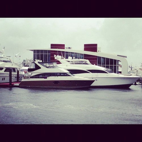 Lazzara Yachts display from the water. #flibs (at Bahia Mar Yachting Center)