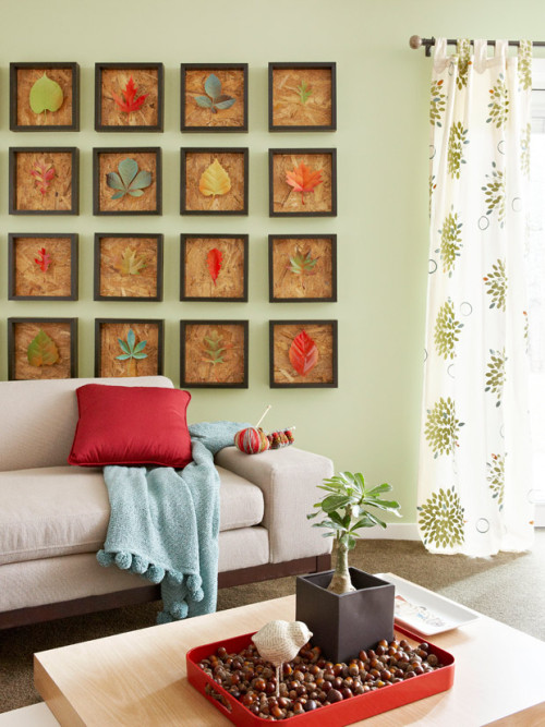 classymissmolassy:  Fall Leaves Wall Art Tutorial.