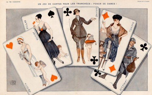 the-seed-of-europe:  A Game of Cards for the Trenches! Illustration by Georges Léonnec for La Vie Parisienne, 1916.