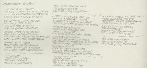 "Hometown Gypsy Lyrics (I'm With You B-Side) Lyrics in Anthony Kiedis' handwriting and final song lyrics with additions and references. Drivin' up the coast  To find a version of the truth Left the backdoor swinging   Like a dirty little sleuth The truth is I have never  Felt half this alive Now it's time to dance  Upon the grave called 45 Jacked up on some Kerouac  And surely bullet proof The girl who taught me what to do  Was missing her front tooth Gentle as a storm  Inside your mental health I wanna find the answer  But I just can't find myself I say so long  To the way I played The way I played  Inside of yesterday Hey let's run around The great escape  From out of my hometown Later I would look for love  Inside a woman's dorm A couch to keep me humble  And her breath to keep me warm Ophelia was the girl  That I was feeling for Come to realize  It was me who was the whore A captain lost himself  Inside a 40 year old skull The drink of choice was knowledge  And we always wanted more Drunken sailors  Seeking their Geronimo Instead they found the things  That they really didn't wanna know I say so long  To the way I played The way I played  Inside of yesterday Hey let's run around The great escape  From out of my hometown Country roads  Would never let me stay The way I played  Inside of yesterday A devil's growl and cat's meow  Were blended into one Termites called suburbanites  Were eating all the fun A juggernaut of comedy  And blasphemy I wanna stop the madness  But I think it has to be I say so long  To the way I played The way I played  Inside of yesterday Hey let's run around The great escape  From out of my hometown (Added to final song) Country roads  Would never let me stay The way I played  Inside of yesterday Hey let's run around The great escape  From out of my hometown *References (Thanks to Spion on the Forum)""Now it's time to dance Upon the grave called 45"" Reference to the band 45 Grave. RHCP Covered Black Cross at Hyde Park in 2004.""Jacked up on some Kerouac and surely bullet proof"" Reference to Jack Kerouac, american novelist."