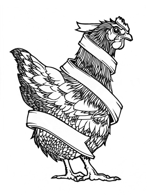 The untouched scan of my chicken Illustration, used for a T-shirt print. Ralf Resuk