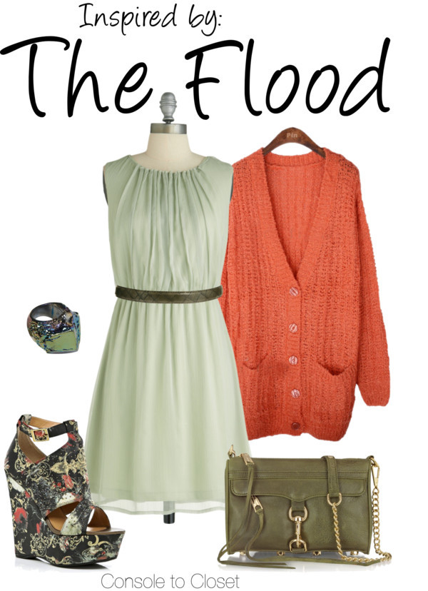 The Flood (Halo) by ladysnip3r featuring rebecca minkoff handbags This outfit is inspired by the Flood of the Halo series. I really wanted to capture their green and coral color palette, and also pick up some of their textures. I chose a light green dress with a coral sweater, and dark green accessories. I found awesome wedges with a really cool pattern on them that replicate the flood's gross texture. I also found a neat ring that's sort of space-y and alien looking. (Reference Image) Keyhole dress / Long sleeve top / River Island black wedge sandals, $32 / Rebecca Minkoff  handbag / Monki metal ring, $13 / Warehouse genuine leather belt