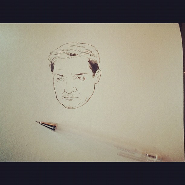 flannelanimal:  Drawing a grumpy Jeremy Renner  this is kind of epic already.