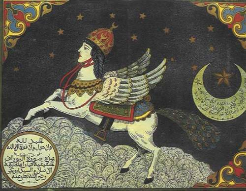 nobodycangiveyoufreedom: Mythical Creatures - The Al-Buraq     Al-Buraq (البُراق‎) is an angelic being who carried the Prophet Muhammad (Peace be upon him), on the Miraj, the Night Journey through the Seven Heavens to Jerusalem and got him back in the same night. According to Islam, the Night Journey took place 12 years after Muhammad became a prophet, during the 7th century. The Al-Buraq is a mythical creature of transportation. It is described as white in color and the size between a donkey and a mule. It is to have the face of a woman and the wings of an eagle, as well as the tail of a peacock. The symbolism of the horse-like body and the eagle wings implies rapid movement and the ability to carry a passenger. The movement of one step is said to be equivalent to the distance of the vision of the creature. So not only can it carry a passenger on its equine body, but can move quickly due to the large wings on the sides of its body. This intensely rapid movement could also be attributed to the name.