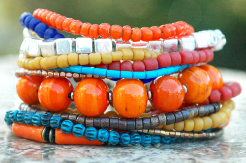 Marrakesh: Moroccan-Inspired Orange, Yellow, Blue and Silver Cuff Bracelet