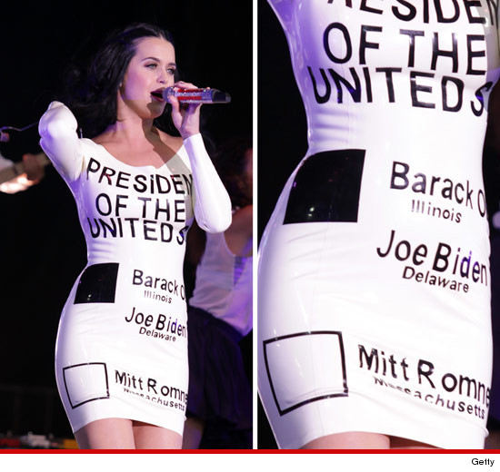 Katy Perry gives Barack Obama her fashion vote. Looks like Bill Clinton isn't the only prez that can leave his mark on a dress [More]
