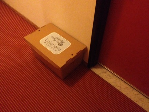 Complimentary box of bees at this hotel, delivered right to your door.