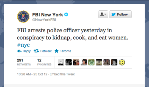 An unusual FBI announcement on the arrest of a New York police officer.