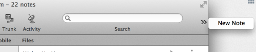 "The Evernote OS X app is awesome except for the part where the search bar is three inches wide (plus padding!) and the ""New Note"" button gets shoved off to the side. This isn't some weirdly-small setup, this is using 2/3 of the screen on a brand new Macbook Pro."
