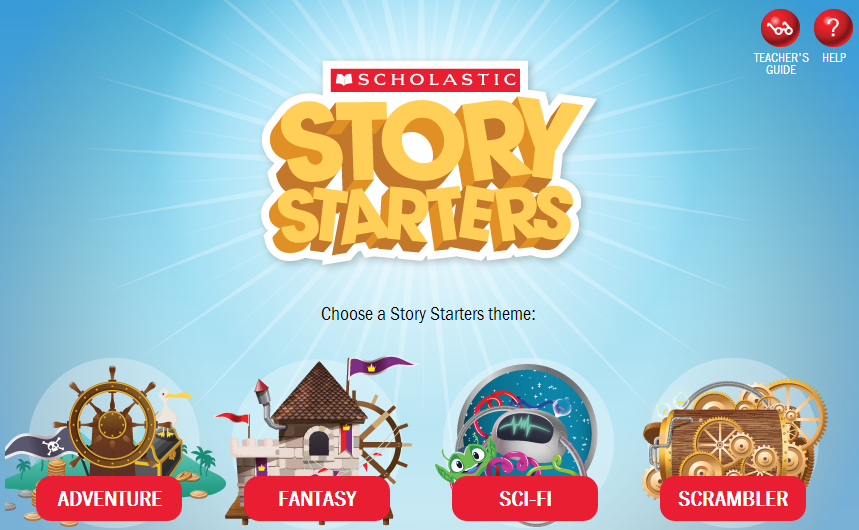Scholastic's Story Starters #literacy Choose a theme (adventure, fantasy, sci-fi, scrambler), grade level (K-6) and spin the wheel. Neat way to  generate story prompts. Story Starters include direction on character, plot and setting. Prompts can be easily modified. Included in  Write On! for Kids You may also like… The Story Starter Jr. Illustrated Story Starters Create a Comic