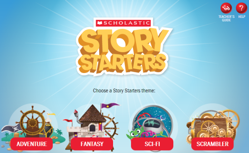 kbkonnected:  Scholastic's Story Starters #literacy Choose a theme (adventure, fantasy, sci-fi, scrambler), grade level (K-6) and spin the wheel. Neat way to  generate story prompts. Story Starters include direction on character, plot and setting. Prompts can be easily modified. Included in  Write On! for Kids You may also like… The Story Starter Jr. Illustrated Story Starters Create a Comic