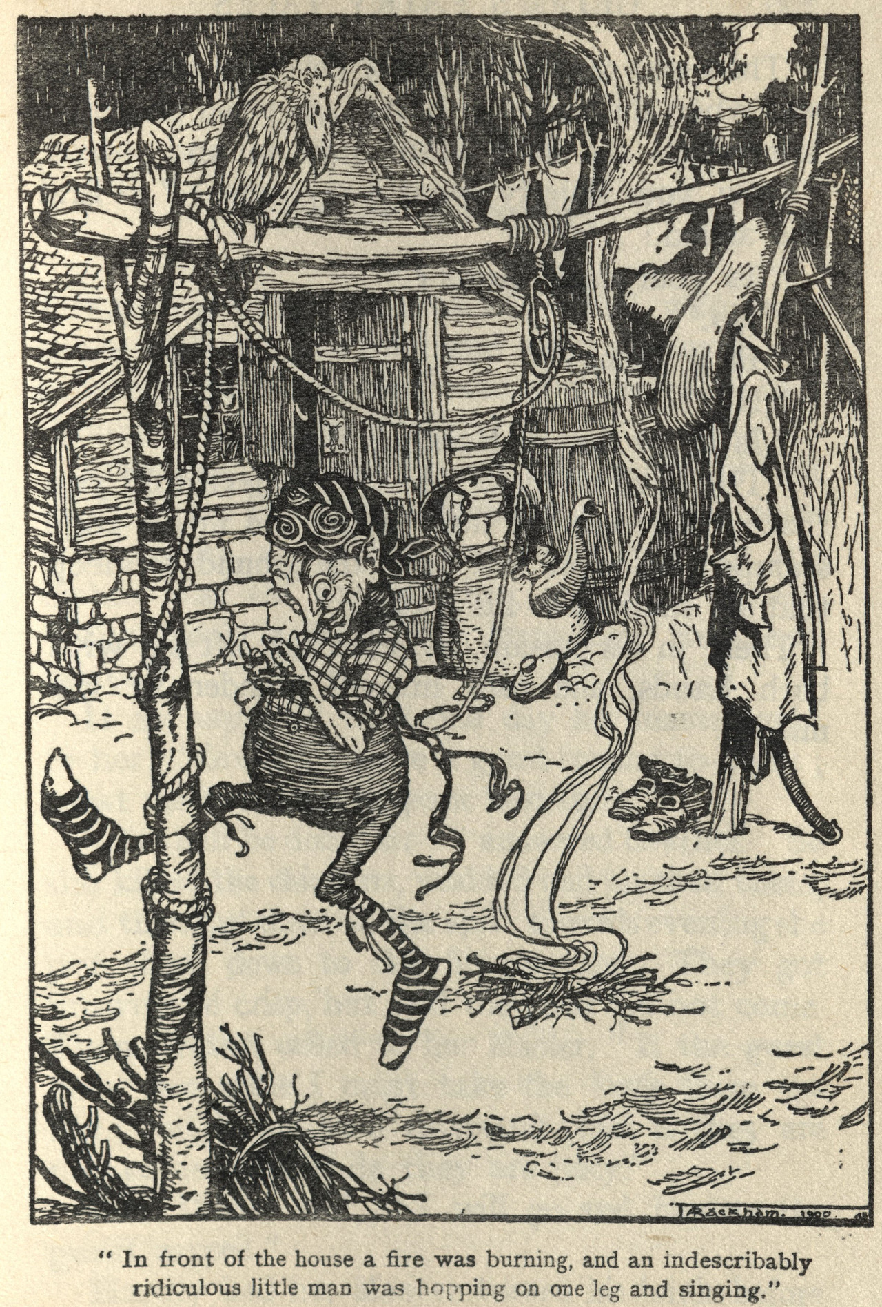 "Illustration by Arthur Rackham for the story ""Rumplstilskin,"" from Fairy Tales of the Brothers Grimm, a new translation by Mrs. Edgar Lucas, 1911"