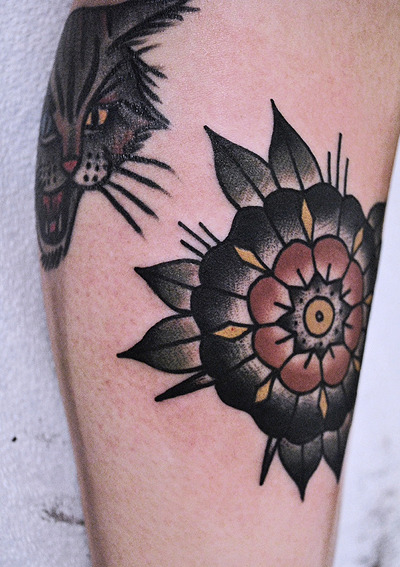 mikeadamstattoo:  i did this flower next to a rad cat tattoo done by my bff josh stephens. thank you - mike adams.