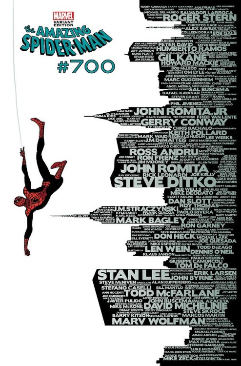 NO GO: Amazing Spider-Man 700 I'm torn here, because conceptually there's a great cover hidden here. To celebrate the milestone 700th (!) issue of the series, the cover displays the names of all the creative teams (artists & writers) who have contributed to the series. A great idea, even though the idea of a word (or tag cloud) isn't new — executed correctly a text-driven cover can have great impact. Instead we get, as far as I can guess, an artist who delivers a solid cover and in post production the names get wedged into the cityscape silhouette. Far from ideal. With some time and extra care the names could have formed the buildings — actually, I don't think it needed the NYC skyline at all (every fan and regular reader knows it as the default story location anyway). The designer had to make do with the art he got, and as a result we get a very gap-tooth layout where form awkwardly follows function.