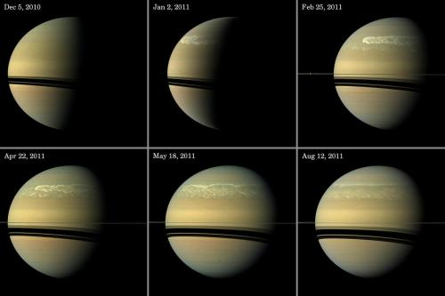 crookedindifference:  Saturn's Storm  Series of images tracking the development of Saturn's giant storm, as seen at visible wavelengths during much of 2011. While the clouds from this turbulent storm have long since faded, the glow of the giant vortex associated with the storm, visible only at infrared wavelengths, is likely to persist until 2013.