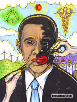 BAMBOOZLING OBAMA  inks on bristol / 2012 / Brandt Hardin