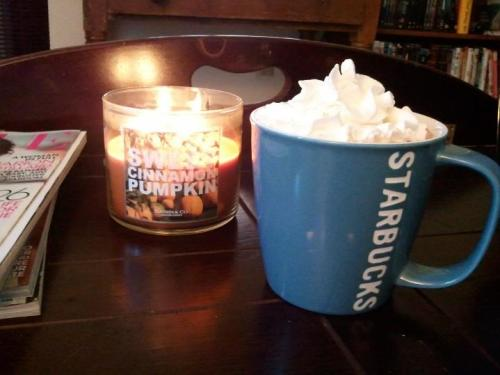 Lovely cold afternoon for hot chocolate and a pumpkin candle