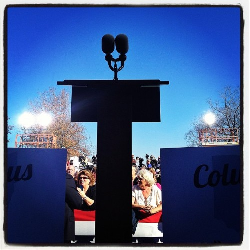 3:18PM Worthington, OH. The podium waits for Mitt. #campaign2012 #gettyimages #mittromney