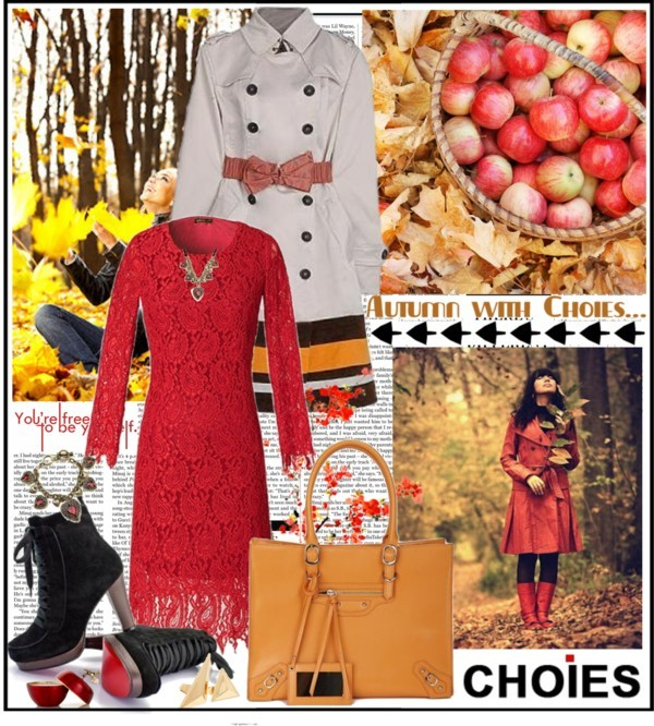 Autumn with Choies… by mako87 featuring retro dressesRetro dress / Long coat / Suede lace up boots / Retro handbag / Heart jewelry / Golden jewelry / Vintage style jewelry