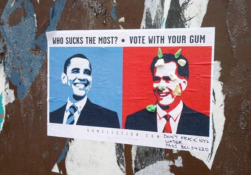 thedailywhat:  Vote With Your Gum of the Day: Spotted in NYC's NoHo neighborhood. Print your own. [boingboing]