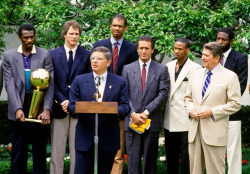 siphotos:  After 28 years as NBA Commissioner, David Stern announced that he'll resign his post in 2014. In this photo, just his second year on the job, Stern and the world champion Lakers visit Ronald Reagan in The White House. (Andrew D. Bernstein/NBAE via Getty Images) IN FOCUS: David Stern's career in photos