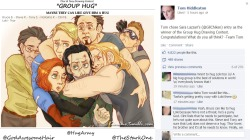 "hugarmy:  The winner of the Thor & Tony ""Group Hug"" Drawing Contest organized by @GodAwesomeHair and @TheStarkOne has been chosen! All the drawings were sent to Tom Hiddleston, who judged them and posted the winning one on his Facebook page. All the entries of the contest can be found here."