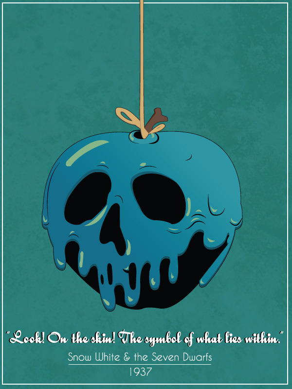 bustedknuckles:  The Poison apple from Snow White,vector style.  My newest Illustration. Another one for halloween!