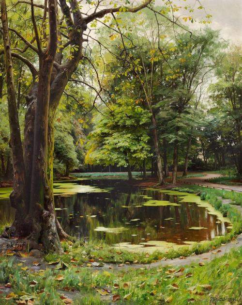 fleurdulys:  A Lake in the Park with Chestnut Trees - Peder Mork Monsted