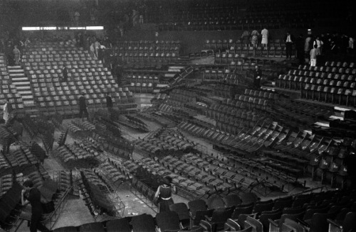 A picture taken 21 June 1965 of the damage left after the Beatles concert at the Palais des Sports in Paris.