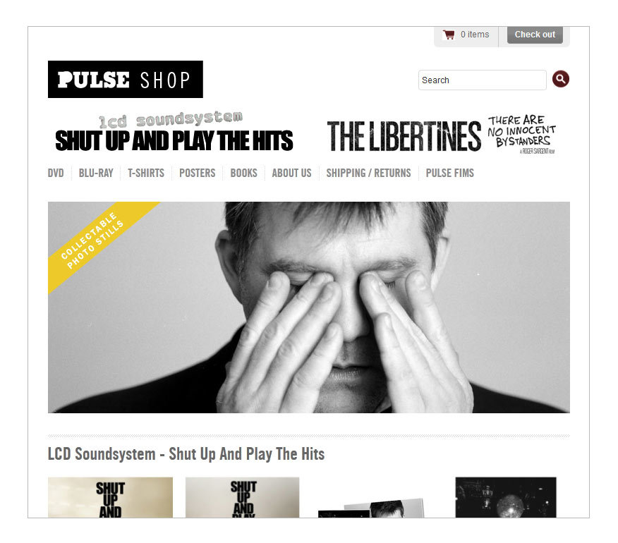 Pulse Films shop (Shopify, HTML, CSS)Using the Shopify ecommerce platform, HTML and CSS I set up a shop for Pulse Films to sell their merchandise. See the shop here