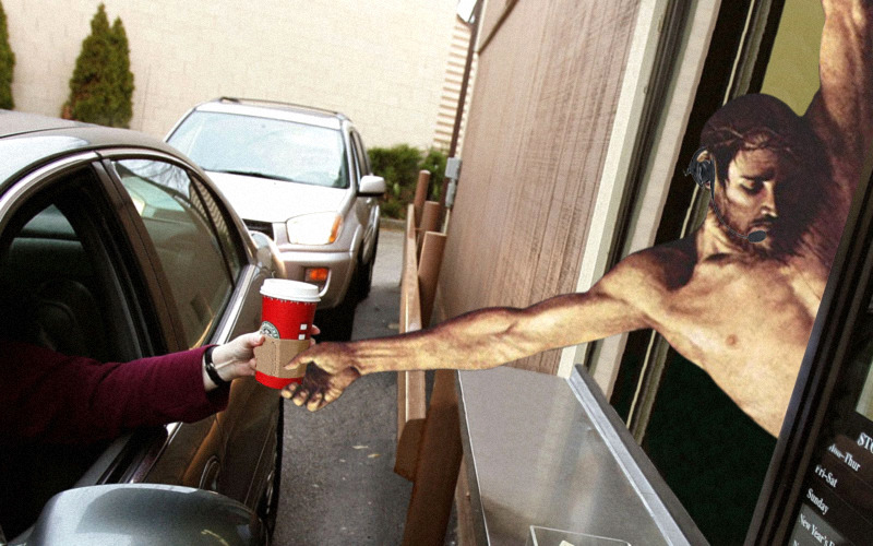 jesus-everywhere:  Jesus Serving Up A Morning Venti Half Caf Skinny Soy Mocha Cappuccino with an Extra Shot of Espresso