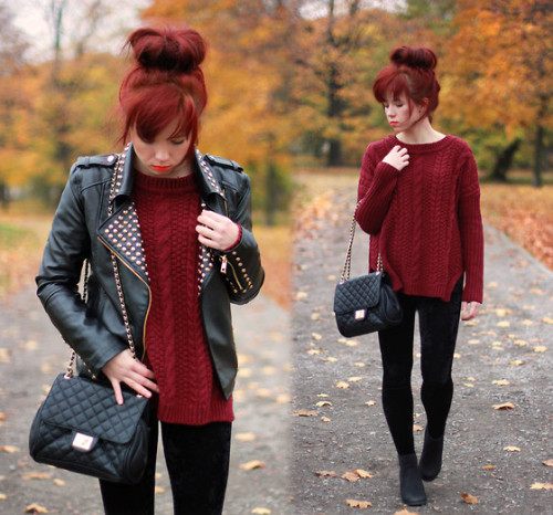 sillyyrabbit:  Leather jacket & Burgundy sweater (by Wioletta Mary Kate)