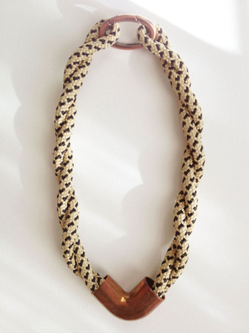 Oversized speckled rope+copper necklace by VISTA. Beautiful new work from emerging designer Ryen Blaschke just arrived! The VISTA jewelry and ceramics collection features rope, copper, hand folded clay, and found hardware.Ryen's use of oversized rope, metal accents and her meticulous attention to detail result in pieces you will want to wear and look at forever.