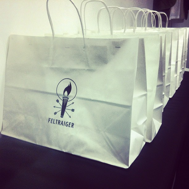 #feltraiger #ratmouth giveaway bags for the party tonight. First 30 people get a fun Halloween giveaway. Raffle @10 for the real giveaways! Make sure to sign in for a chance to win #free #feltraiger #ratmouth #americanmade pieces!  (at Feltraiger 158 Allen st NYC)