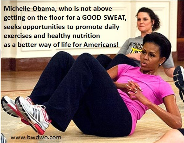prettygirlssweat:  FLOTUS IS NOT AFRAID OF A GOOD SWEAT | Check out Michelle Obama getting her workout on!