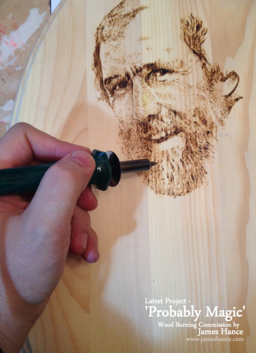 Latest Project In Progress - 'Probably Magic' A wood burning commission. I always love painting Jim and the Muppets, such a pleasure :) I'm using a regular soldering iron on pine. Free flow burning, no initial sketch. Flying by the seat of my pants! Scary, but fun ;) Thanks for the amazingly kind words re: 'The Luck Dragon'. Entirely appreciated! I'm taking occasional commissions up until Christmas x  My site / My Facebook