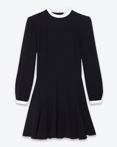 Saint Laurent: long sleeve skating dress in black crêpe jersey In lieu of recent posts, this is such a Ms. Deneuve frock.