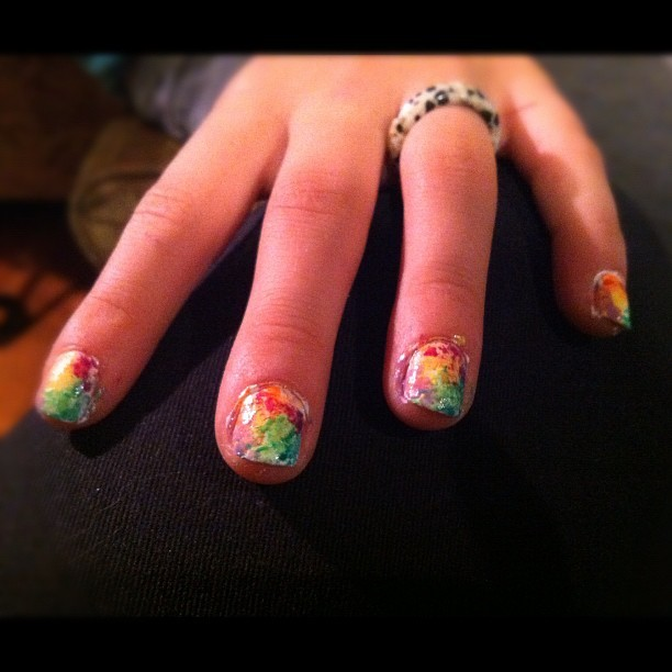 Fun evening with my little kiddos!! I painted Sarah's nails! (I totally stole this design pattern from Hosannah)
